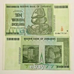 10 X 10 Banques Dollaires De Trillion Unc Zimbabwe = 100 Banques De Trillion 2008 Zim
