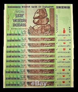 10 X Billets De Banque De 50 Trillions De Dollars Du Zimbabwe / Monnaie Authentique Consécutive De L'unc