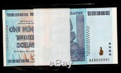 10 X Zimbabwe 100 Trillions De Dollars, Série Aa / 2008, Billet De Banque Unc # 1