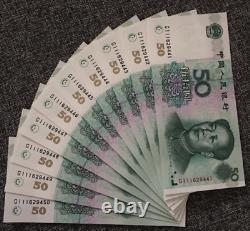 10pcs Chine 50 Yuan Rmb Banknote Currence 1999 Unc Continu