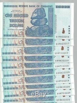10x 100 Billions Zimbabwe Dollar Unc. Monnaie D'argent. M 5 10 25 50 500