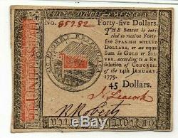 14 Janvier 1779 $ 45 Continental Monnaie Pmg Choix Unc 63 Epq Fr # Cc-96