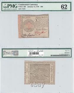 14 Janvier 1779 $80 Devise Continentale En Cc-102 Pmg Unc-62
