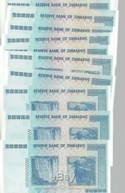 15 X 100 Billions Zimbabwe Dollar Unc. Monnaie D'argent. M 5 10 25 50 500