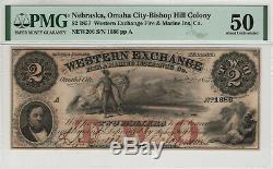 1857 $ Western 2 Omaha Nebraska Bourse Obsolète Monnaie Pmg A Propos Unc 50