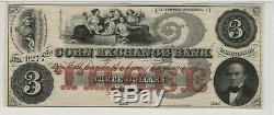 1860 $ 3 Bank Corn Exchange Wapun Wisconsin Obsolète Monnaie Pmg Choix Unc 64