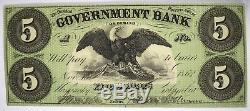 1862 5 $ Washington DC Gouvernement Bank Note Unc Obsolète Monnaie Ordinaire Retour