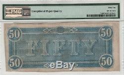 1864 50 $ T-66 États Confédérés D'amérique Note Monnaie Pmg Unc 62 Epq
