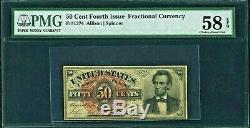 1869 Us 50c Lincoln Fractional Currency Fr 1374 Pmg 58 Epq Choix A Propos Unc Au