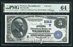 1882 5 $ Db Le Premier Nb De Webster, Ma Monnaie Nationale Ch. # 2312 Pmg Unc-64
