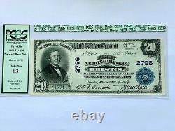 1902 20 $ 1ère Banque Nationale Bristol, Tennessee Pcgs 63 Choix Nouvelle Monnaie Unc