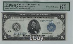 1914 $5 Federal Reserve Note Devise New York Fr. 851c Choix De Pmg Unc 64 Epq