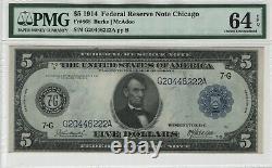 1914 5 $ Remarque De La Réserve Fédérale Chicago Fr. 868 Pmg Choix Unc 64 Epq