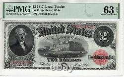 1917 $2 Legal Tender Red Seal Note Devise Fr. 60 Pmg Choix Unc 63 Epq (525a)