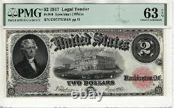 1917 $2 Legal Tender Red Seal Note Devise Fr. 60 Pmg Choix Unc 63 Epq (584a)
