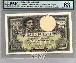 1919 Pologne 500 Zlotych Certifié Devise Billet Pmg 63 Unc Billets