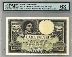 1919 Pologne 500 Zlotych Certified Currency Banknote Pmg 63 Unc Paper Money