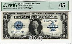 1923 $1 Argent Certificat Note Devise Fr. 238 Bois/blanc Pmg Gem Unc 65 Epq