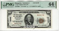 1929 $100 Monnaie Des Billets Nationaux Memphis Tennessee Pmg Choice Unc 64 Epq