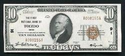 1929 $10 La Première Banque Nationale De Tolède, Oh Monnaie Nationale Ch. #91 Unc