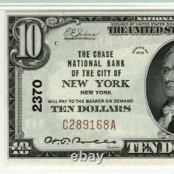 1929 10 $ Monnaie Du Billet National Chase New York Ny Pmg Choice Unc 63 Epq