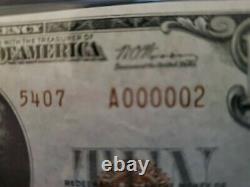 1929 10 $ Monnaie Nationale De New York-2 Le Plus Bas # 000002 Pmg64 Choix Unc
