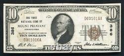1929 $10 Première Banque Nationale Du Mont Pleasant, Pa Monnaie Nationale Ch. #386 Unc