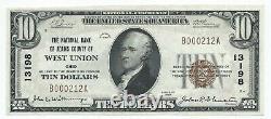 1929 $ 10 West Union Oh Adams County National Bank Note Monnaie Ch 13198 Gem Unc