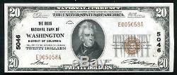 1929 20 $ Le Riggs De Washington Nb, D. C. Monnaie Nationale Ch # 5046 Unc (c)