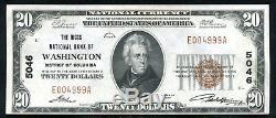 1929 $ 20 Le Riggs Nb De Washington, D. C. Monnaie Nationale Ch # 5046 Unc (n)