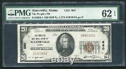 1929 $20 Peoples Nb Of Waterville, Me Monnaie Nationale Ch. #880 Pmg Unc-62epq