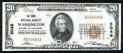 1929 $ 20 The Riggs Nb De Washington, D. C. Monnaie Nationale Ch # 5046 Unc (n)