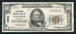 1929 50 $ La Deuxième Banque Nationale De Danville, IL Monnaie Nationale Ch. #2584 Unc