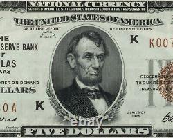 1929 $5 National Currency Note Dallas Classé Par Pmg Comme Gem Unc 65 Epq Fr 1850-k