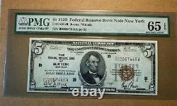 1929 $5 National Currency Note Pmg65 Epq New York District Gem Unc! Navire Libre