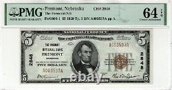 1929 $5 Premier Billet National Devise Fremont Nebraska Pmg Choice Unc 64 Epq