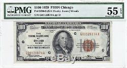 1929 Chicago (g) 100 $ Frbn Monnaie Nationale Pmg 55 Epq Au À Propos De Unc Billet De Banque