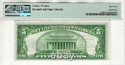 1929 T2 5 $ Première Monnaie Des Billets Nationaux Wichita Kansas Pmg Choice Unc 63 Epq