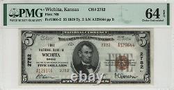 1929 T2 $5 Première Monnaie Nationale De Billet De Banque Wichita Kansas Pmg Choix Unc 64 Epq