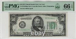 1934 50 $ Réserve Fédérale Note Devise Fr. 2102-bdgs Ba Bloquer Pmg Gem Unc 66 Epq