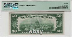 1934 C 50 $ Réserve Fédérale Note Devise Fr. 2105-b Ba Bloquer Pmg Gem Unc 66 Epq