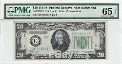 1934a Richmond Billet De La Réserve Fédérale De 20 $ Pmg 65 Epq Gem Unc Currency Banknote Frn