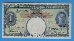 1941 Malaya George VI Billet De 1 Dollar $ 1 Dollar Américain