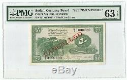 1956 Soudan Currency Board P-2asp Specimen Preuve De Billets 50 Piastres Pmg 63 Unc