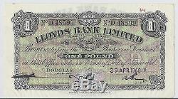 1960 Île De Man Lloyds Bank Limited, £ 1 Livre Monnaie, P-12, Au / Unc Xf Rare