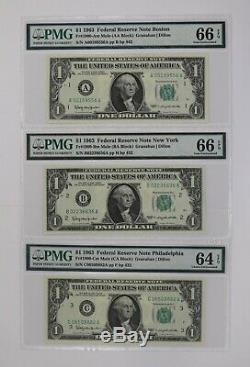 1963 1 $ Réserve Fédérale Note Devise District Mule Set Pmg Unc (556)