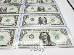 1963 1 Unc Notes Tous 12 $ Quartiers En Détenteurs Monnaie Individuelle