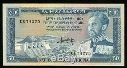 1966 No Date Monnaie Ethiopie 50 Dollar Empereur Haile Selassie P # 28a Crisp Unc