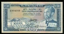 1966 Pas De Date Devise Éthiopie 50 Dollar Empereur Haile Selassie P# 28a Crisp Unc
