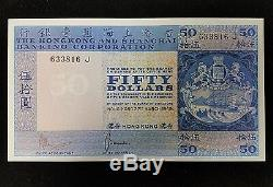 1969 La Banque Chartered Hong Kong Cinquante Dollars Unc